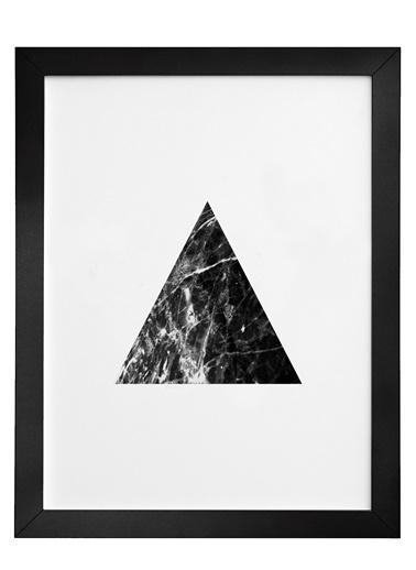 Nordbagen Black Marble Triangle Poster Siyah
